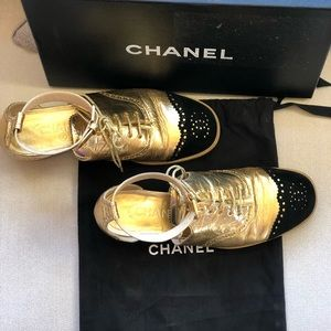 CHANEL Shoes - CHANEL Brogue Lace Up Ankle Strap Oxford Sandals